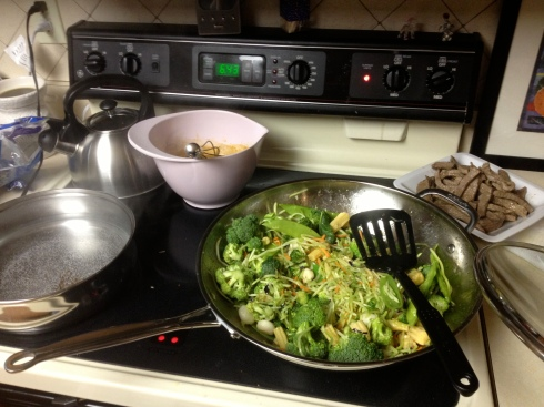 Beautiful Veggies Cooking down while stir frying! Meat and sauce added then set.